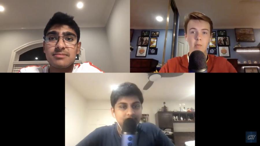 Anish Gupta, Srikar Rajendran, and Jack Smith recording a video.