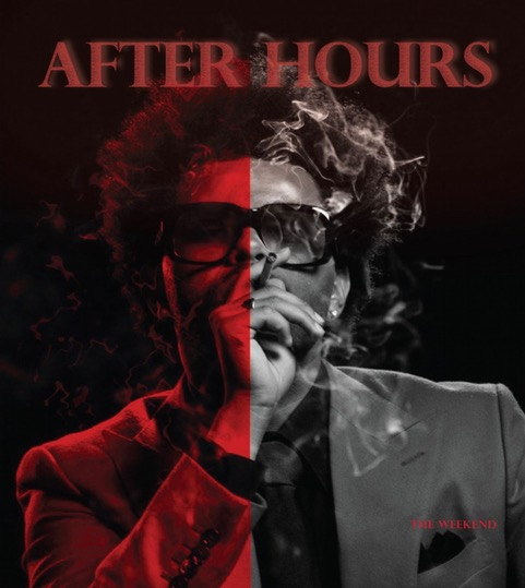 Featured above is Sarah Conti's front cover artwork for an album. The front of the album features music artist, the Weeknd, split into two contrasting tones (red and black) and the title, After Hours, in red. The red hue gives the title the effect that it is glowing in the black background.